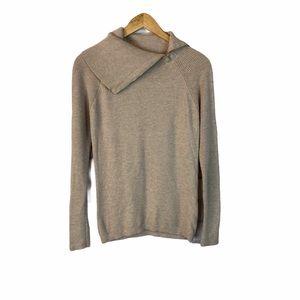 WHBM beige turtleneck textured sweater